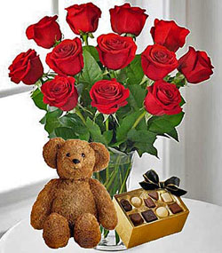 12 Red Roses, Bear and Chocolates