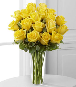18 Yellow Roses Arranged