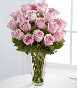 18 Pink Roses Arranged