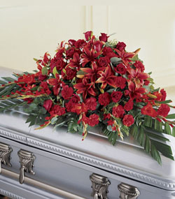 Red Splendour Casket Spray