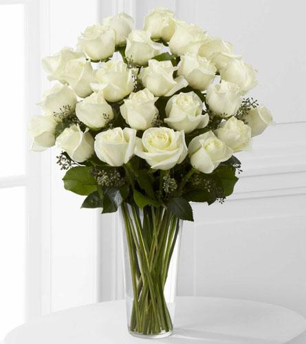 Janousek florist white flowers premium white rose arrangement e8 24 white roses arrangement mightylinksfo