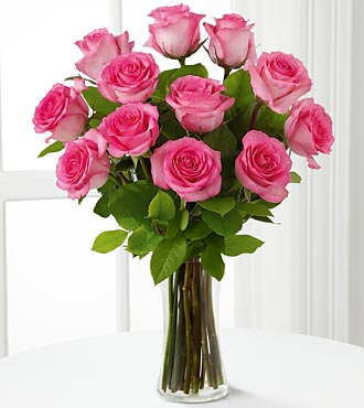 Janousek florist pink flowers ftds pink rose bouquet f426 12 hot pink roses arranged mightylinksfo